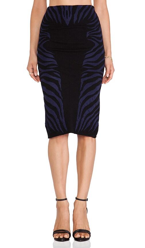 Zebra Textured Jacquard Midi Skirt