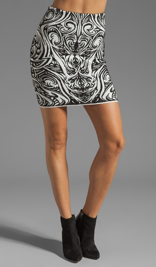 Phoenix Embroidery High Waist Jacquard Skirt