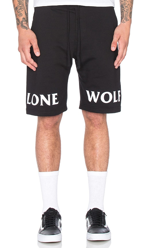 Raised by Wolves Lone Wolf Sweatshorts in Black & White