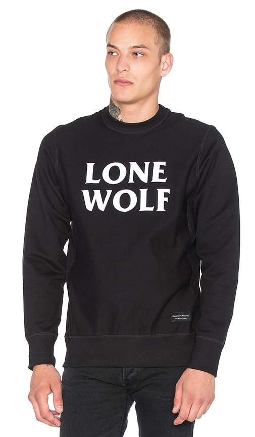 Raised by Wolves Lone Wolf Crewneck Sweatshirt in Black & White