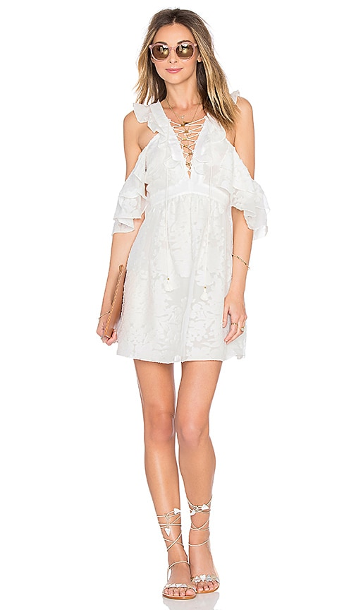 RACHEL ZOE Valerie Lace Up Dress in White