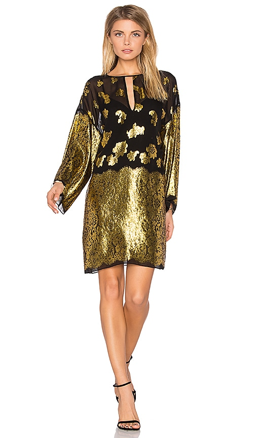 RACHEL ZOE Iris Shift Dress in Metallic Gold