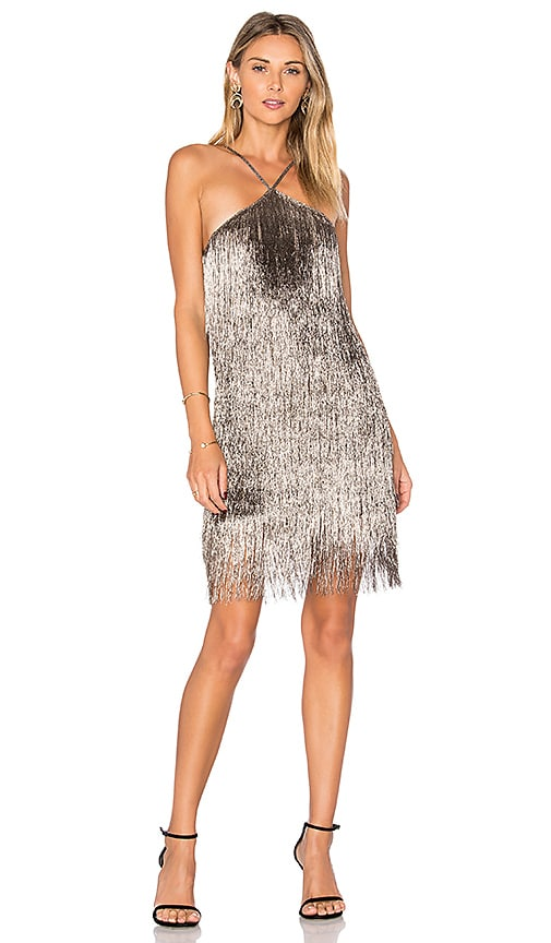 RACHEL ZOE Pierce Mini Dress in Metallic Gold