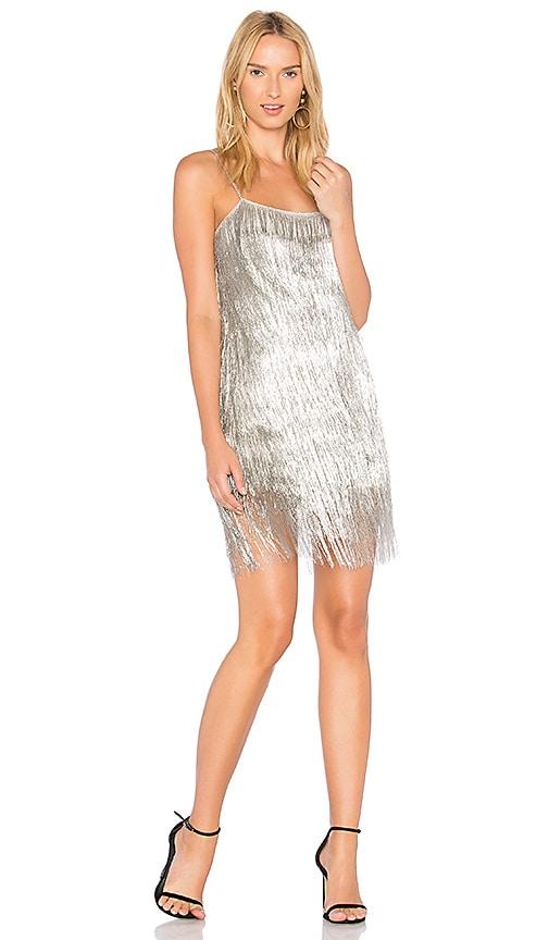 RACHEL ZOE Dalla Dress in Metallic Silver