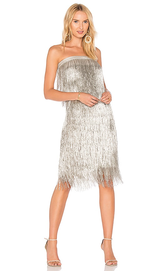 RACHEL ZOE Delilah Dress in Metallic Silver