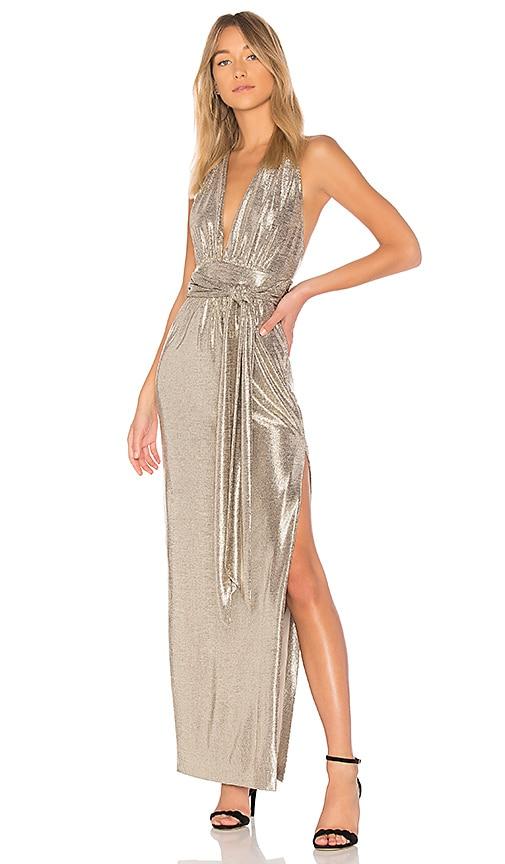 RACHEL ZOE X REVOLVE Metallic Halter Gown in Gold | REVOLVE