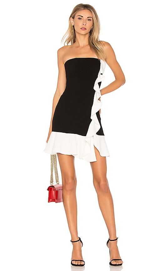 RACHEL ZOE Ashby Strapless Dress in Black & White