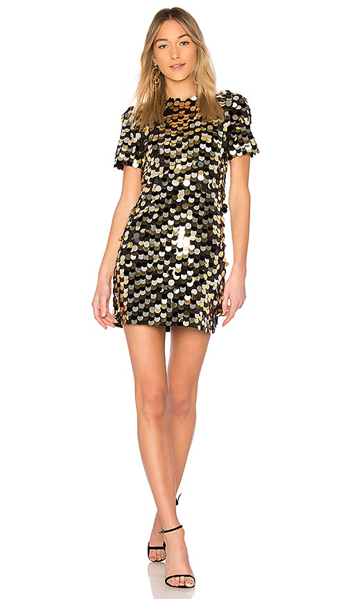 RACHEL ZOE Elsa Dress in Metallic Gold