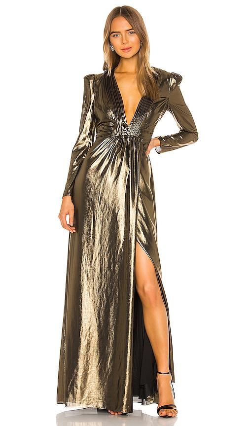 Vintage Prom Dresses, Homecoming Dress RACHEL ZOE Rosalee Dress in Metallic Gold. - size 4 also in 02 $108.00 AT vintagedancer.com