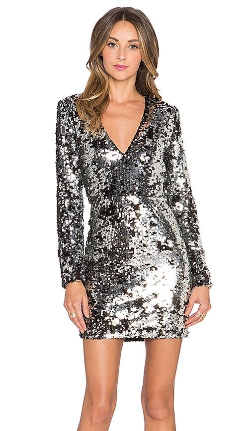 RACHEL ZOE Muse V Neck Dress in Silver & Black