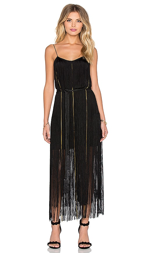 RACHEL ZOE Nadya Fringe Dress in Black & Gold