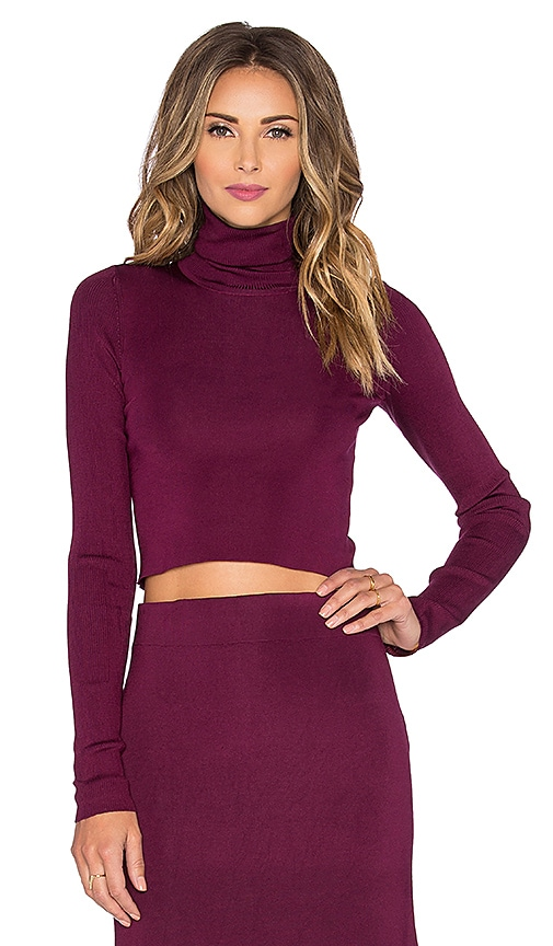 RACHEL ZOE Winnie Crop Turtleneck Sweater in Plum