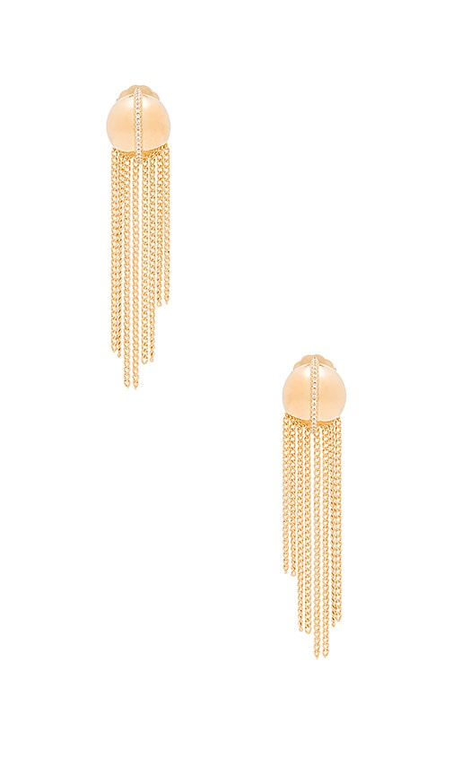 RACHEL ZOE Remy Fringe Dome Post Earrings in Gold & Crystal