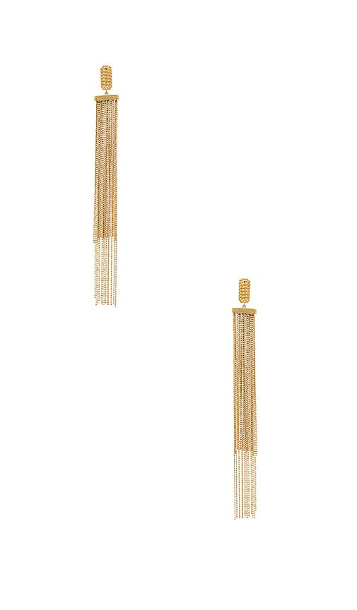 RACHEL ZOE Georgie Fringe Earrings in Metallic Gold