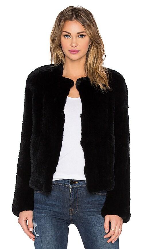 RACHEL ZOE Jasper Rabbit Fur Jacket in Black