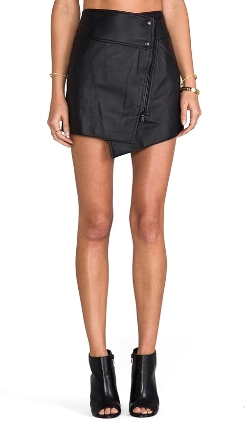 Bowery Leather Asymmetrical Skirt