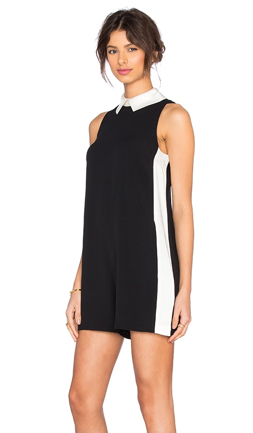 RACHEL ZOE Josettie Romper in Black & White