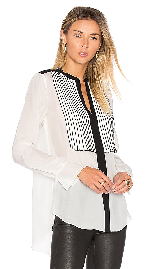 RACHEL ZOE Ada Blouse in Black & White