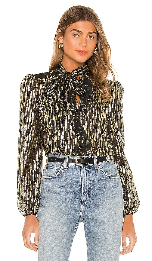 Women's 70s Shirts, Blouses, Hippie Tops RACHEL ZOE Powell Top in BlackMetallic Gold. - size 4 also in 02 $65.00 AT vintagedancer.com