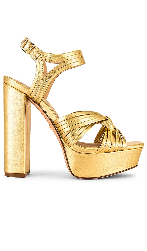70s Outfits – 70s Style Ideas for Women RACHEL ZOE Strappy Platform Sandal in Metallic Gold. - size 9 also in 1066.577.588.5 $180.00 AT vintagedancer.com