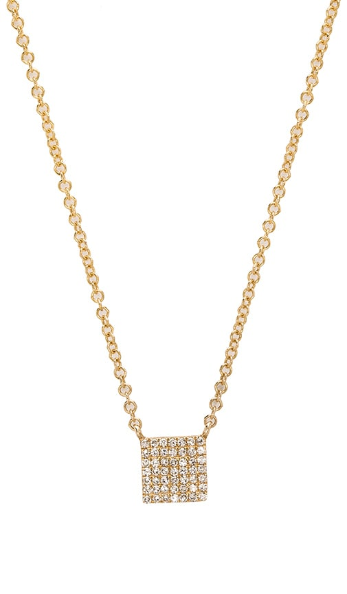 Sachi Mini Pave Square Necklace in Yellow Gold