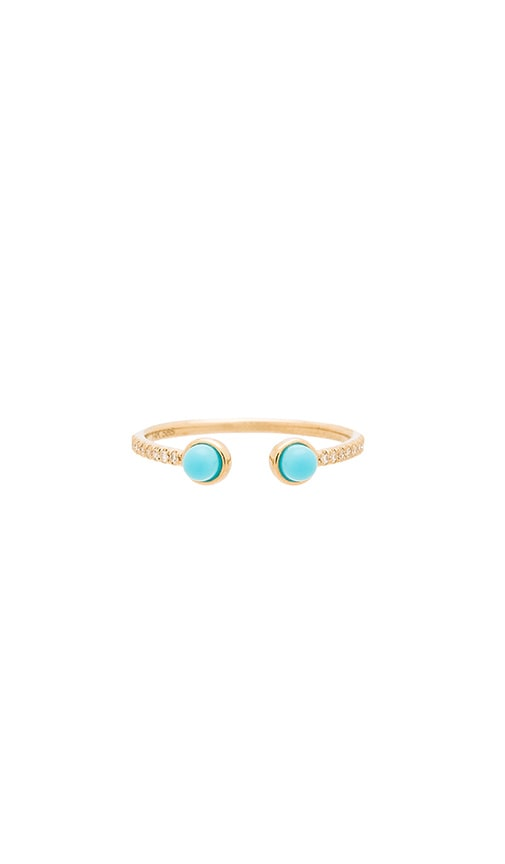 Sachi Turquoise Cuff Ring in Metallic Gold