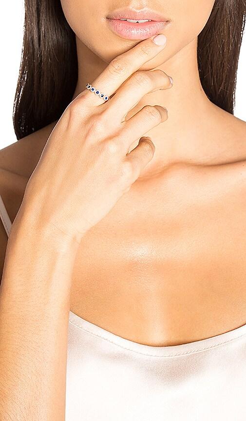Sachi Sapphire & Diamond Link Ring in Metallic Copper