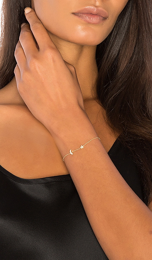 Sachi Moon and Star Bracelet in Metallic Gold