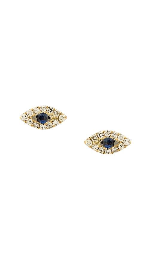 Sachi Evil Eye Sapphire Stud Earrings in Metallic Gold