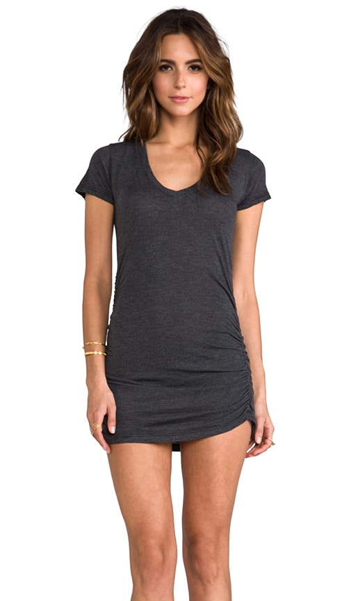 Rayon Jersey V Neck with Shirring Dress