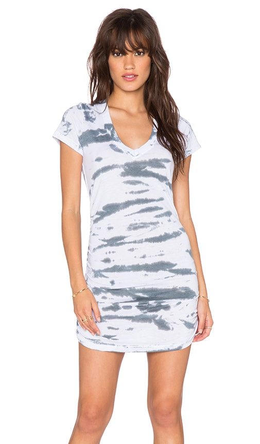 Saint Grace Cap Sleeve Shirred Dress in Iron Tiger Wash