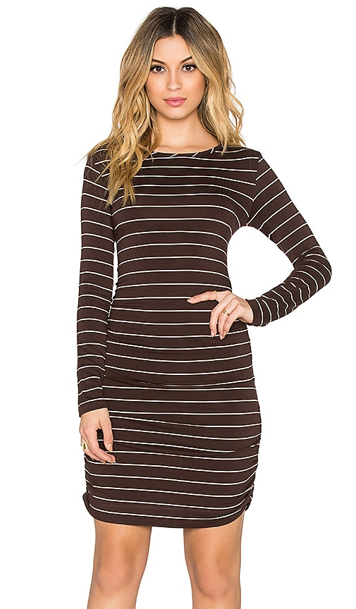 Saint Grace Long Sleeve Shirred Mini Dress in Espresso & Cream