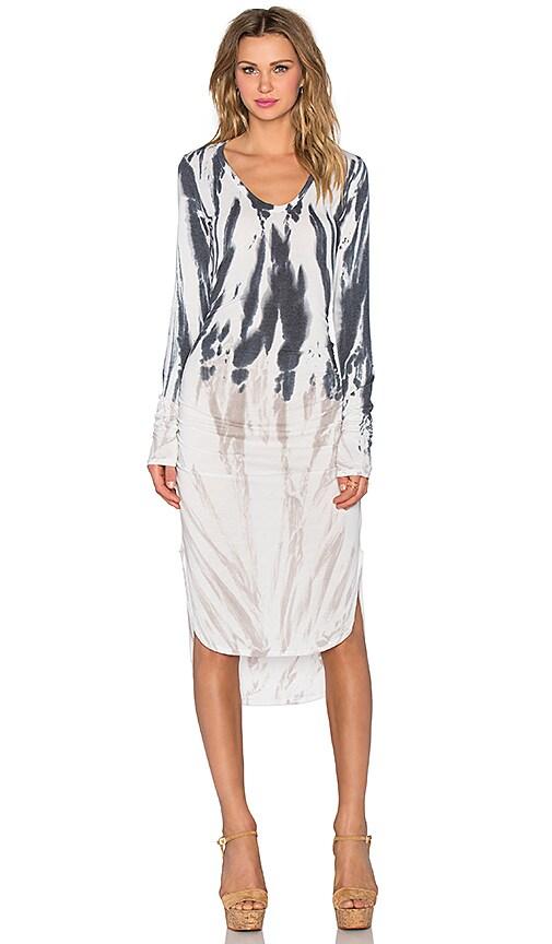 Saint Grace Amelie Shirred Mini Dress in Wolf Brush Wash
