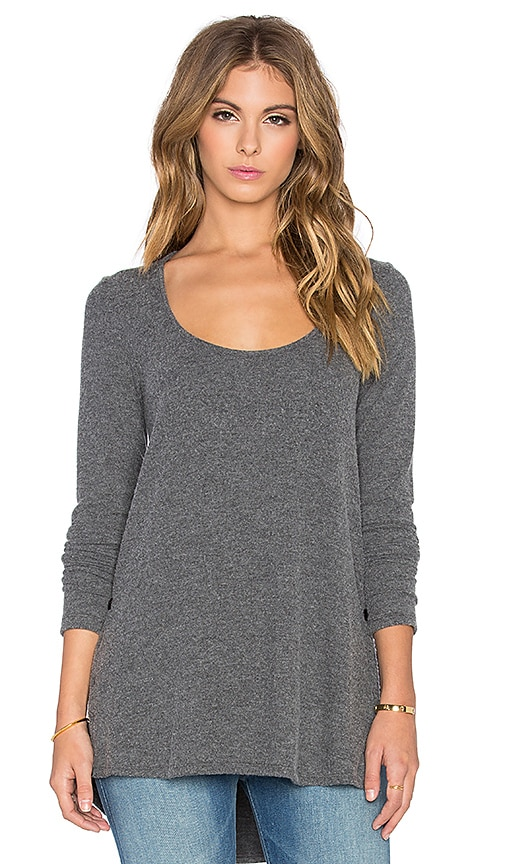 Saint Grace Brit Side Button Long Sleeve Tee in Charcoal