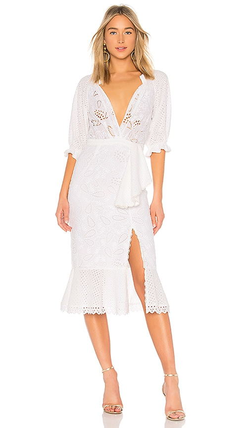 SALONI Olivia Cotton Dress in White