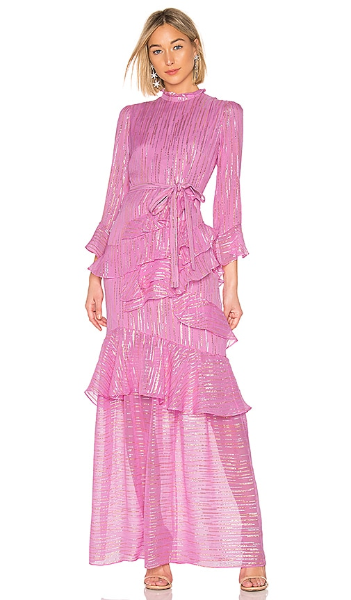 2b4f27e5bdf9 SALONI Marissa Long Gown in Candy Pink Metallic