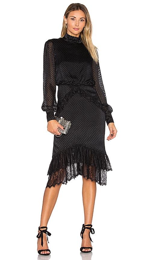 SALONI Isa Silk Short Dress in Black