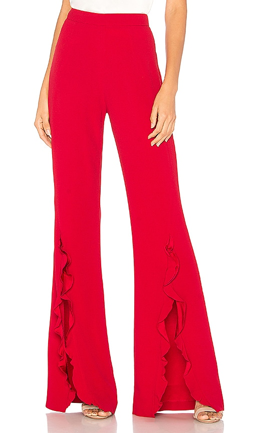 SALONI Ivy Ruffle Trouser in Red