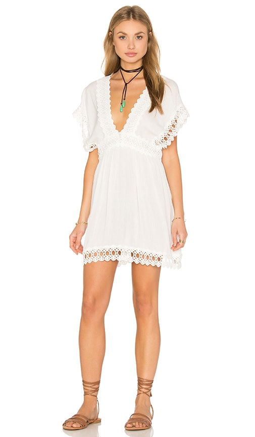 Salinas Sleeveless V Neck Mini Dress in White Lisos