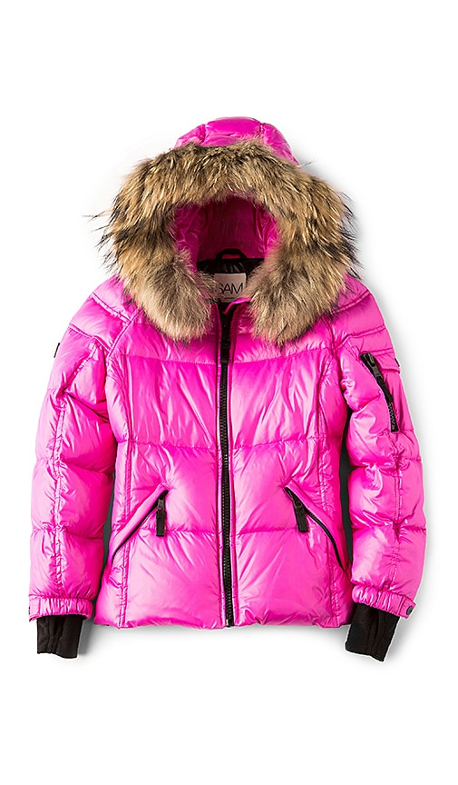 SAM. Blake Jacket with Asiatic Raccoon Fur in Pink