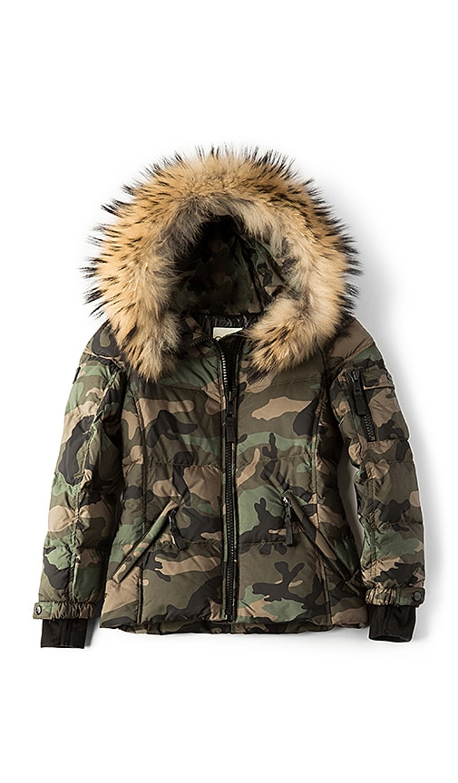 SAM. Camo Blake Jacket with Asiatic Raccoon Fur in Olive