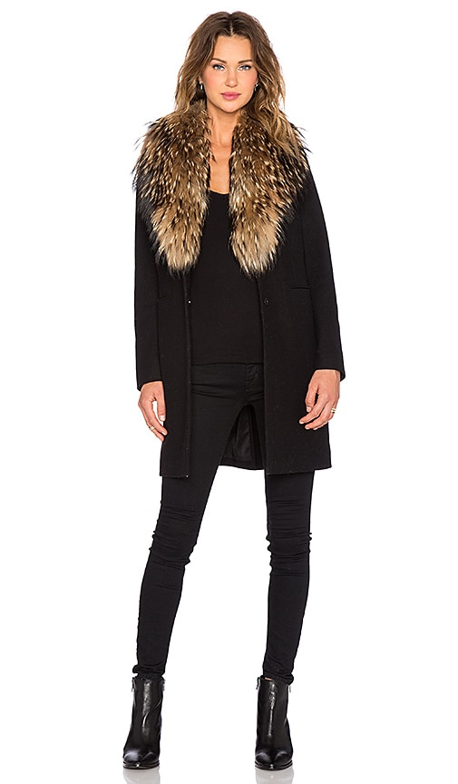 SAM. Crosby Asiatic Raccoon Fur Coat in Black