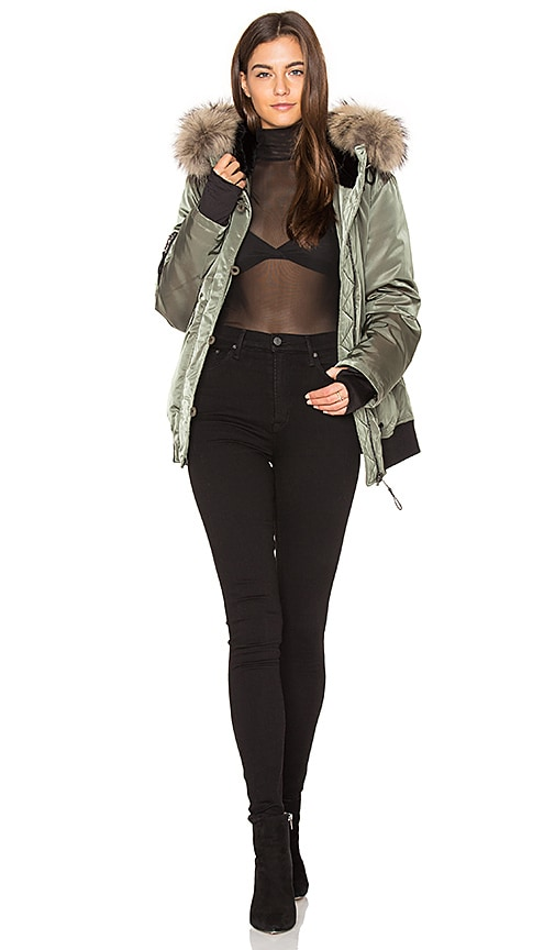 Riley Bomber with Rabbit and Raccoon Fur