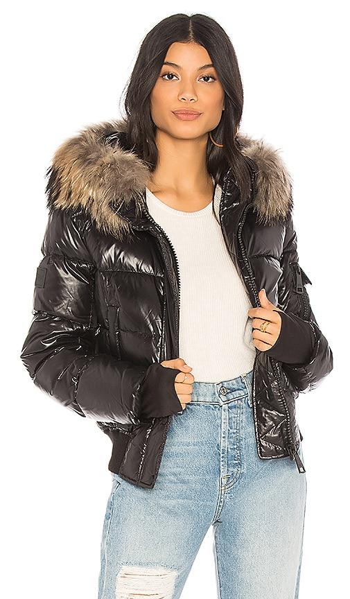 SAM. Skyler Puffer Jacket with Raccoon Fur in Black