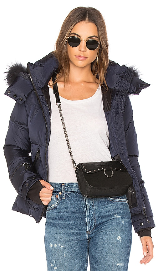 SAM. Jetset Jacket with Racoon Fur in Blue