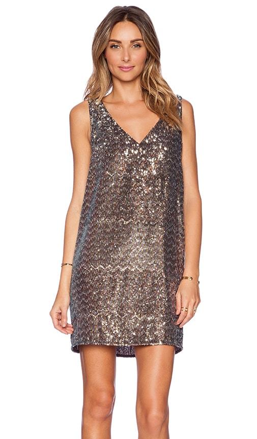 Sam Edelman V-Neck Sequin Dress in Metallic Bronze