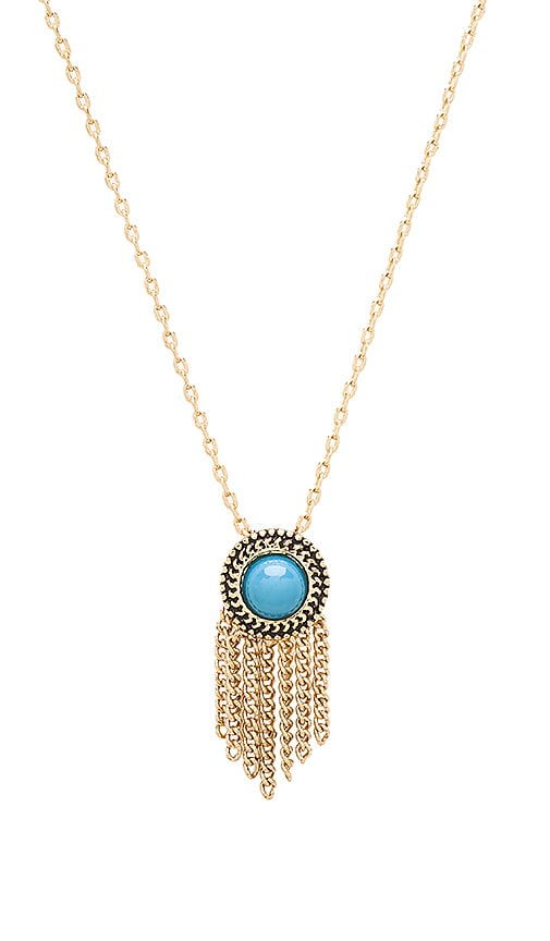 Sam Edelman Fringe Pendant Necklace in Turquoise & Gold