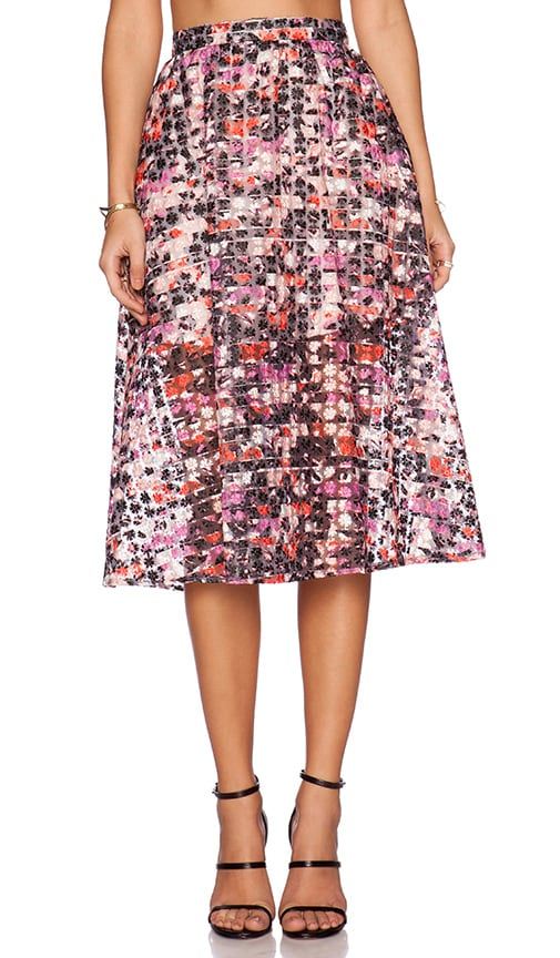 Sam Edelman Stripe Floral Midi Skirt in Multi