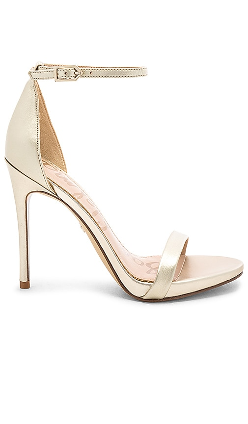 b4533e21e Sam Edelman Ariella Heel in Jute Light Gold Leather