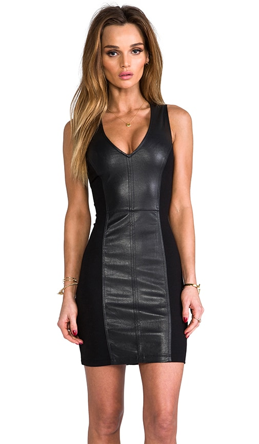 Vegan Leather Deep V Dress